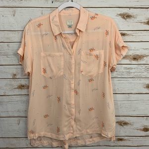 A New Day Spring Floral Button Down Blouse S